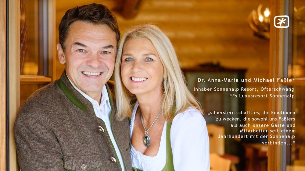 """Dr. Anna-Maria & Michael Fäßler (Inhaber 5*s Luxusresort Sonnenalp, Ofterschwang) - """"silberstern schafft es, die Emotionen zu wecken, die sowohl uns Fäßlers als auch unsere Gäste und Mitarbeiter seit einem Jahrhundert mit der Sonnenalp verbinden…"""""""