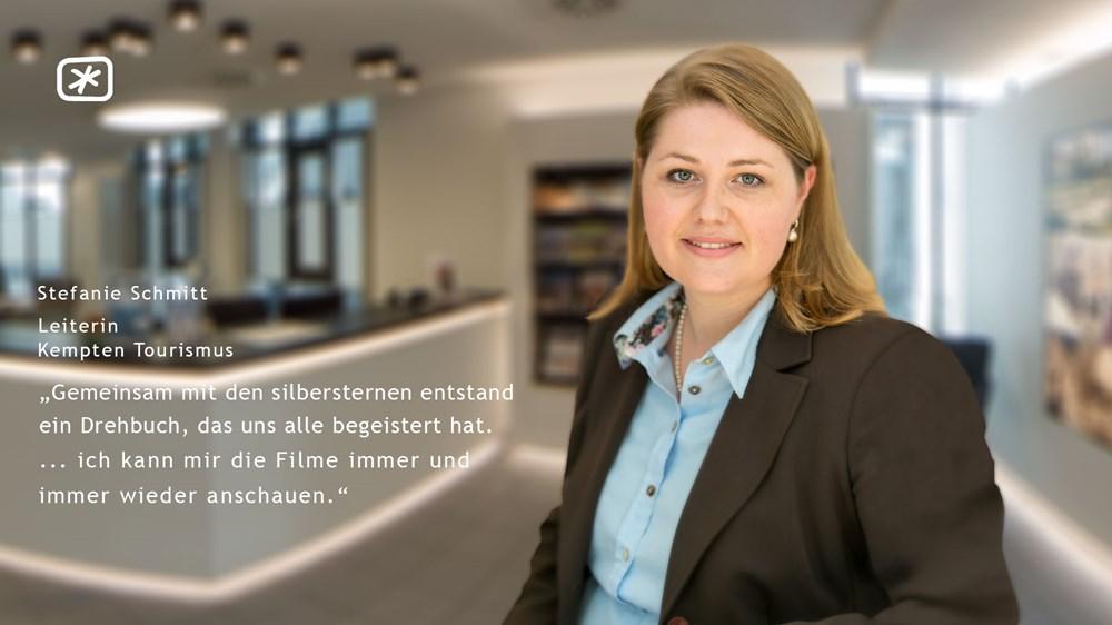 """Stefanie Schmitt (LeiterinKempten Tourismus) - """"Gemeinsam mit den silbersternen entstand ein Drehbuch, das uns alle begeistert hat. ... ich kann mir die Filme immer und immer wieder anschauen."""""""